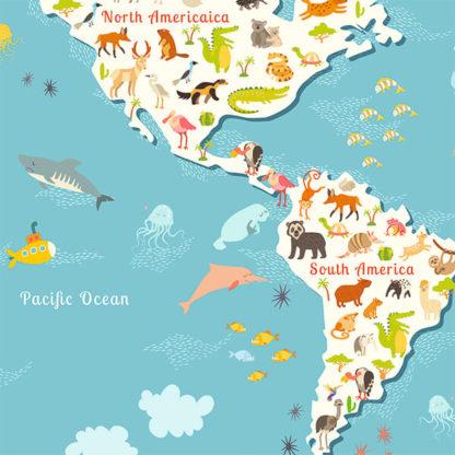 Фрагмент наклейка на тену карта мира для детей на Английском