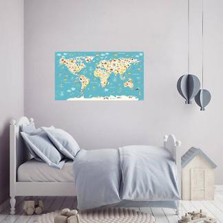 Наклейка на стену Карта мира для детей с надписями на Английском / Голубая 110х60 см