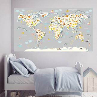 Настенная карта мира для детей / Серая 200х110 см