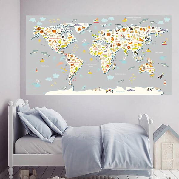 Настенная карта мира для детей / Серая 200х110 см  - фото