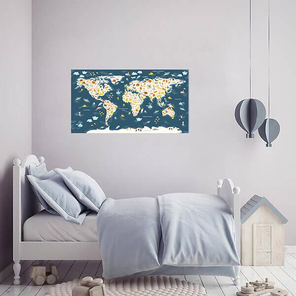Развивающая карта мира для детей  / Синяя 110х60 см