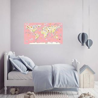 Виниловая наклейка Карта мира / Розовая 110х60 см
