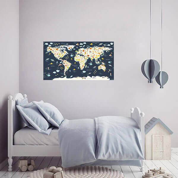 Виниловая наклейка на стену Карта мира / Темно-синяя 110х60 см