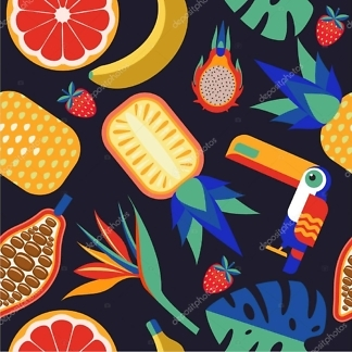 Наклейки фрукты тропические