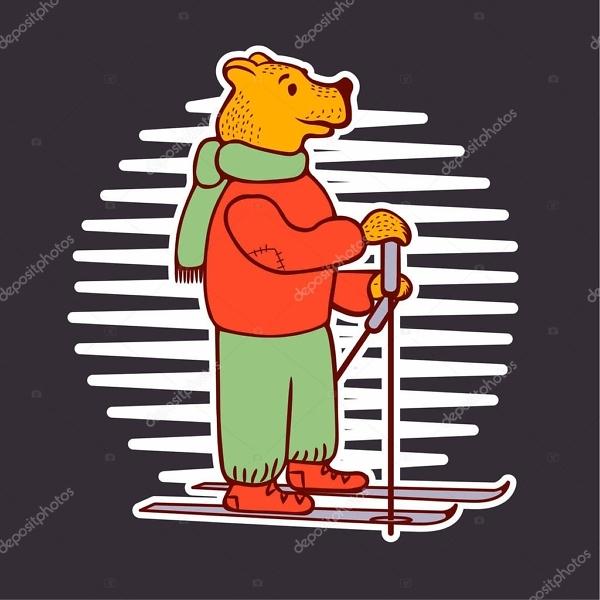 Наклейка Мишка на лыжах