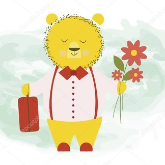 Наклейка медведь на стене