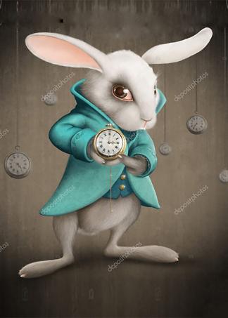 Постер Белый кролик с часами  - фото