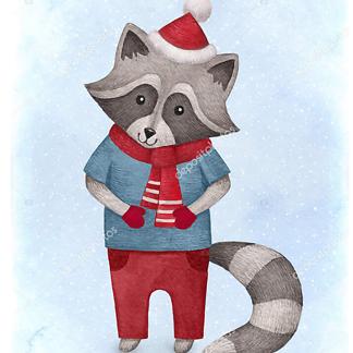 Постер енот — детская иллюстрация