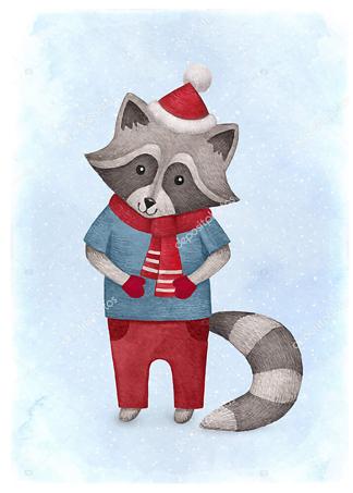 Постер енот — детская иллюстрация  - фото