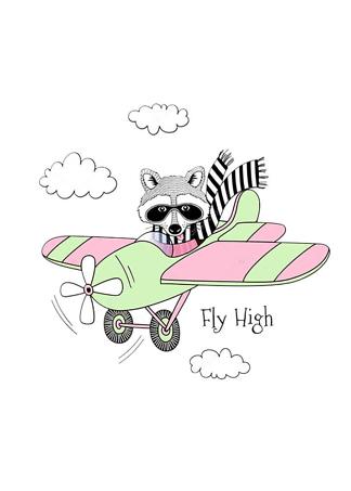 Постер Енот на самолете  - фото