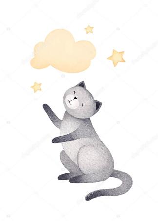 Постер Кошка и облако — 2  - фото