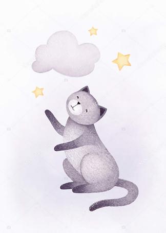 Постер Кошка и облако  - фото