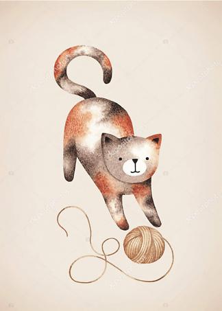 Постер Кошка играет с клубком на коричневом фоне  - фото