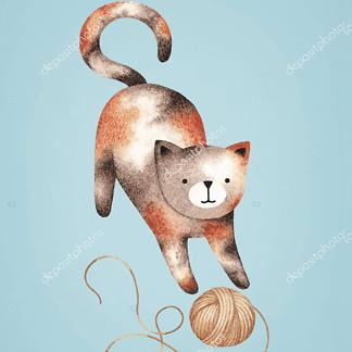 Кошка играет с клубком на синем фоне