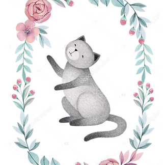 Постер Кошка в цветочной раме — 2