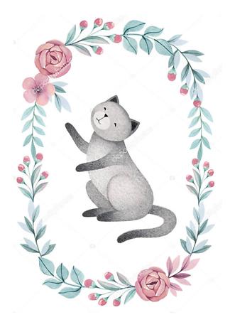 Постер Кошка в цветочной раме — 2  - фото