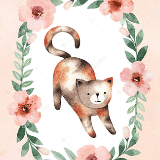 Постер Кошка в цветочной раме — 3