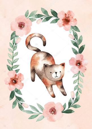 Постер Кошка в цветочной раме — 3  - фото