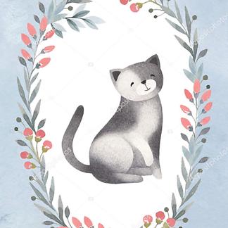 Постер Кошка играет с клубком на коричневом фоне