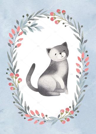 Постер Кошка в цветочной раме — 4  - фото