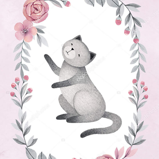 Постер Кошка в цветочной раме — 5