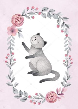 Постер Кошка в цветочной раме — 5  - фото