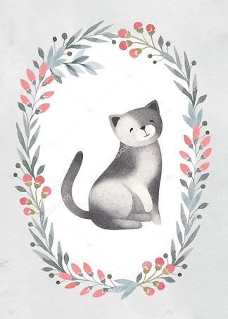 Постер Кошка в цветочной раме — 6  - фото