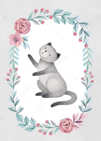 Постер Кошка в цветочной раме — 7  - фото