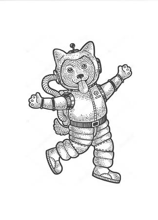 Постер Космонавт-щенок  - фото