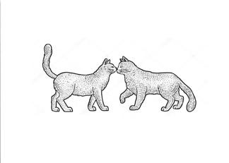 Постер Кот и кошка  - фото