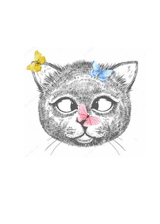 Постер Кот с бабочками  - фото