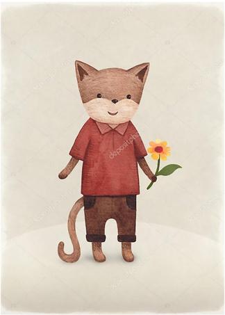 Постер Кот с цветком  - фото