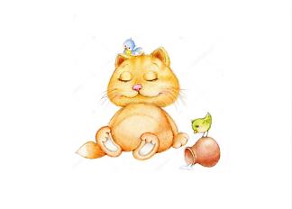 Постер Кот с птенцами  - фото