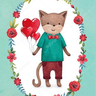 Постер Кот с шариками-сердечками