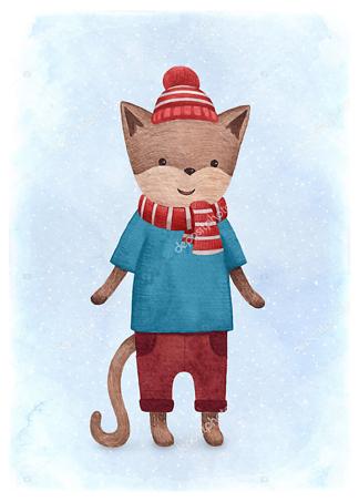 Постер Кот в шапочке  - фото