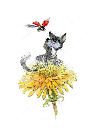Постер Котенок на цветке одуванчика  - фото