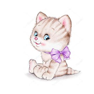 Котенок с фиолетовым бантом