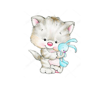 Котенок с кроликом