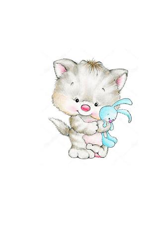 Постер Котенок с кроликом  - фото