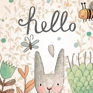 Постер мультяшный Hello Кролик