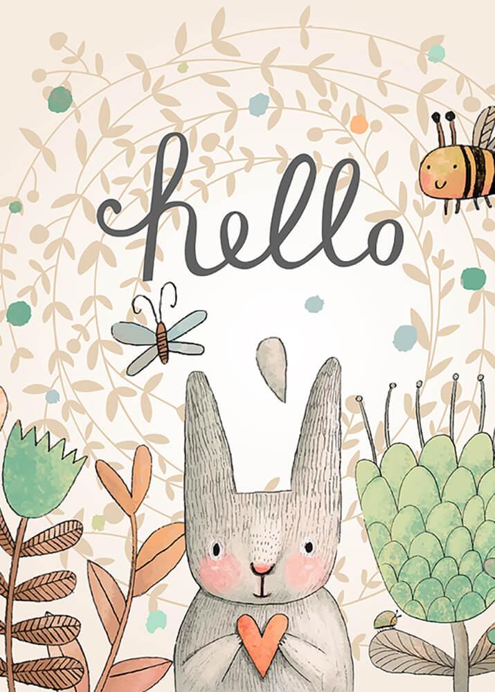 Постер мультяшный Hello Кролик  - фото
