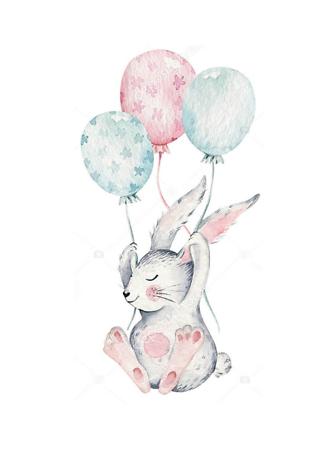 Постер Кролик с шариками  - фото