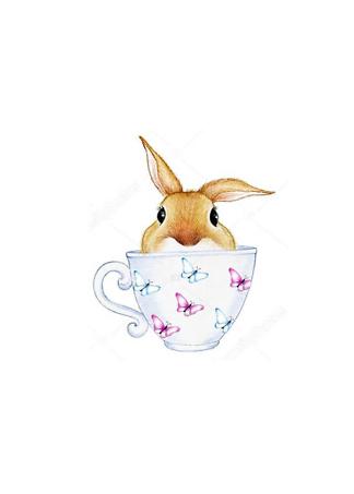 Постер Кролик в кружке  - фото