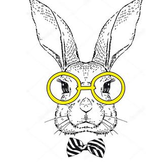 Постер Кролик в стиле гравировки