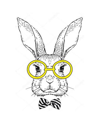 Постер Кролик в очках  - фото