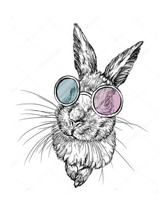 Постер Кролик в разноцветных очках  - фото