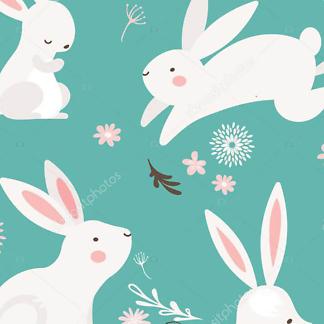 Постер Кролики на бирюзовом фоне