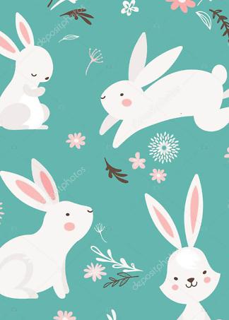 Постер Кролики на бирюзовом фоне  - фото