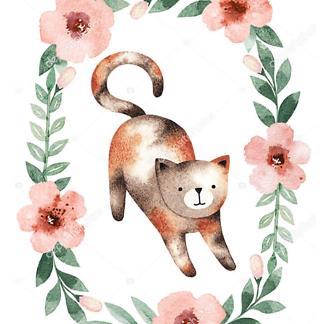 Постер Кошка в цветочной раме