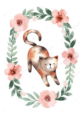 Постер Кошка в цветочной раме  - фото
